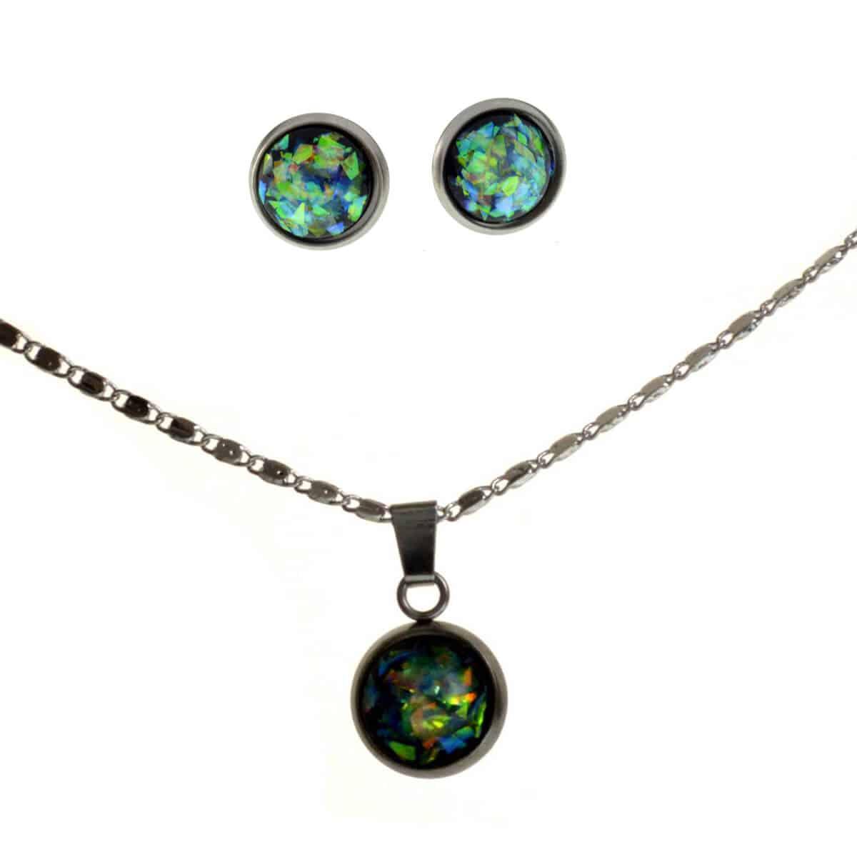 Created Opal Stud Earrings Pendant Necklace Sets Black Fromocean