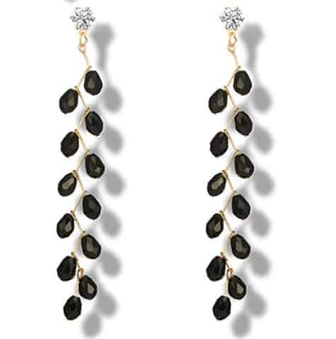 Beaded Long Earrings Crystal Like Personalized Earrings Jewelry White Black Stone Length 8 8cm Gold