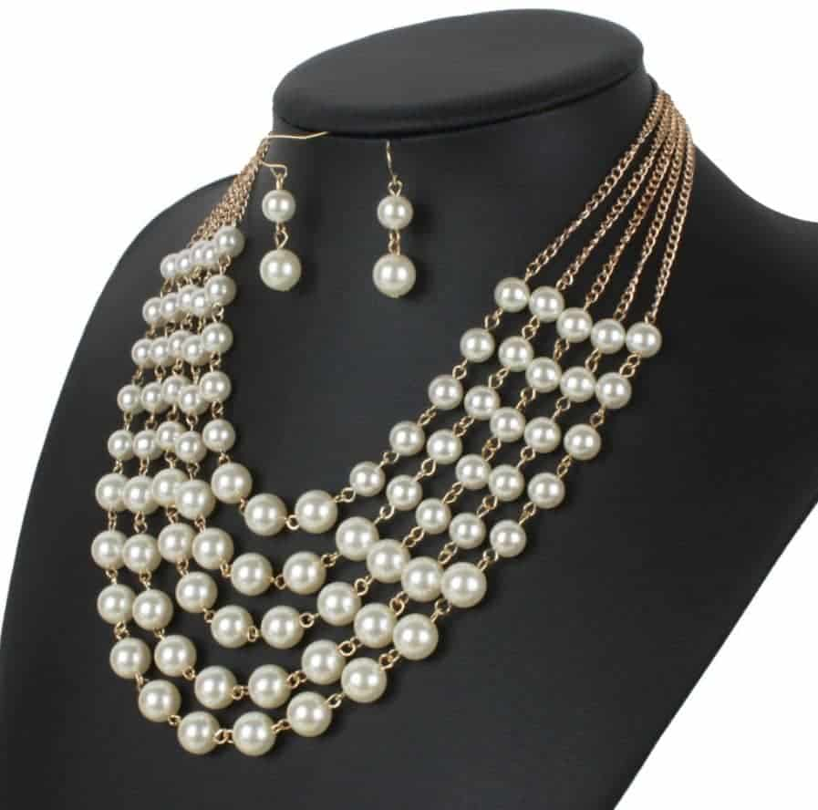 Faux Pearl Necklace Earring Sets