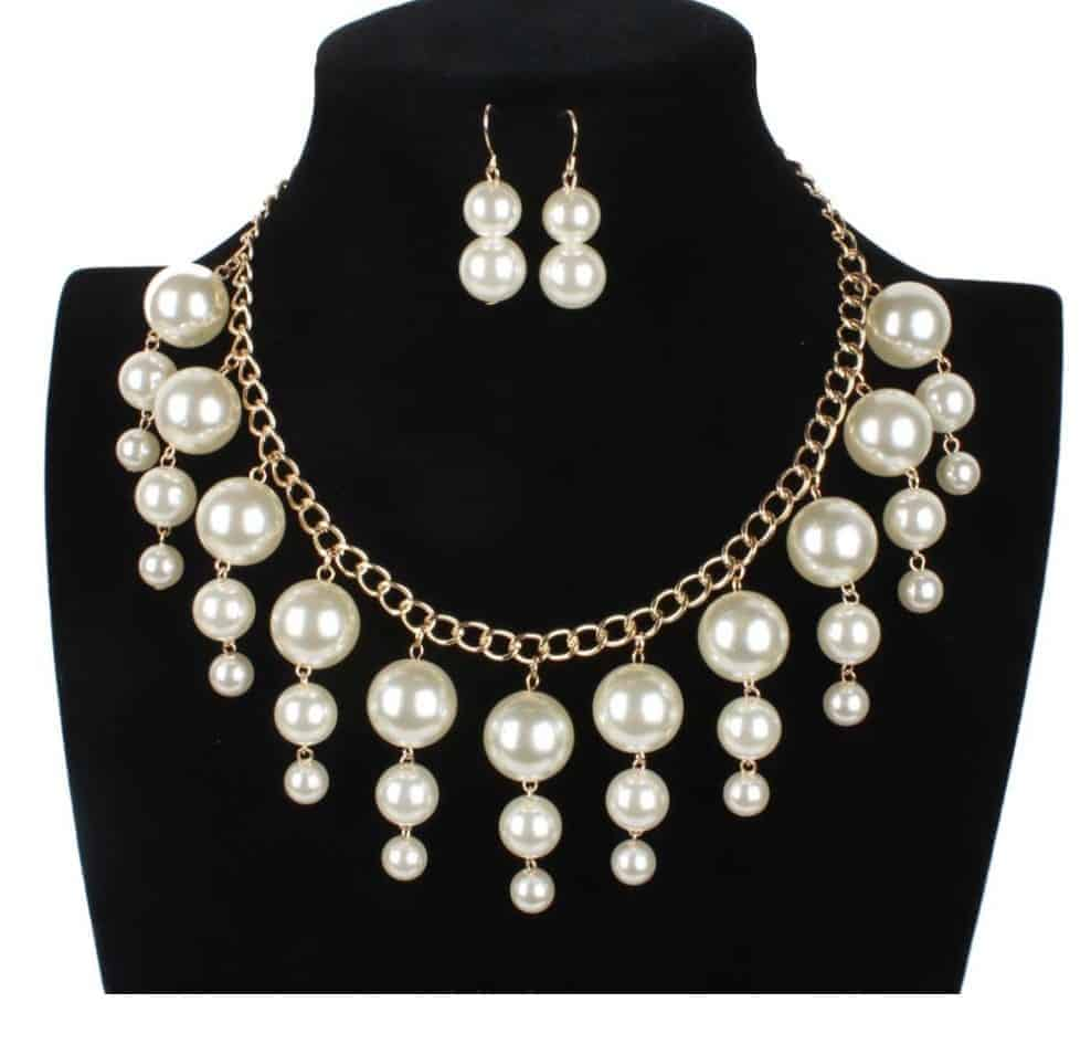 Cheap Pearl Necklace Sets: Faux Pearl Necklace Earring Sets For Bride Bridesmaid