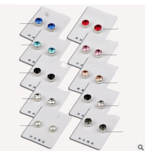 2b4b904fd Set of 12 Health magnetic earrings , no need earring hole , 6MM crystal  Stud earring, sold by set , 12 pairs /set - FromOcean.com