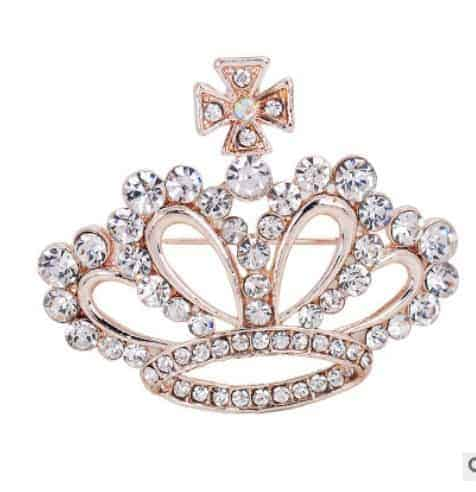 351ddb6f63 Fashion brooch Crystal Crown Clothes Accessories Pins ,40x45mm ,gold plated  ,white