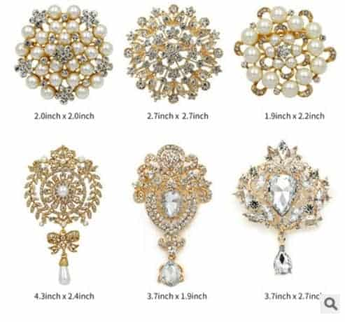 186e4a0cc Rhinestone brooch female hand bouquet accessory pin 6pcs/set , sold by set  gold plated - FromOcean.com
