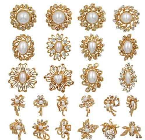 b09150fb4 Rhinestone and pearl brooch female hand bouquet accessory pin 12pcs/set ,  sold by set gold plated - FromOcean.com