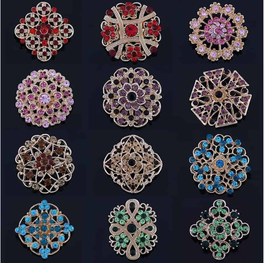 662744f8d Rhinestone brooch female hand bouquet accessory pin 12pcs/set , sold ...
