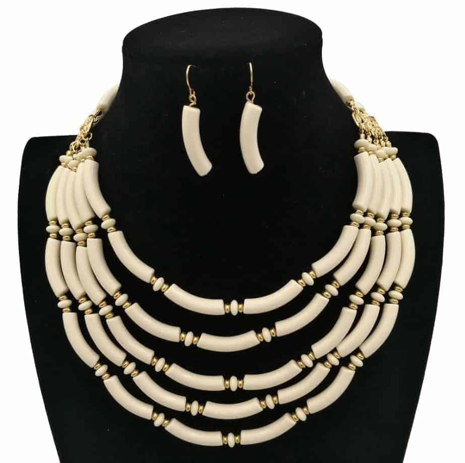 Resin Beads Multilayer For Necklaces Jewelry Set Necklace+Earring Earrings