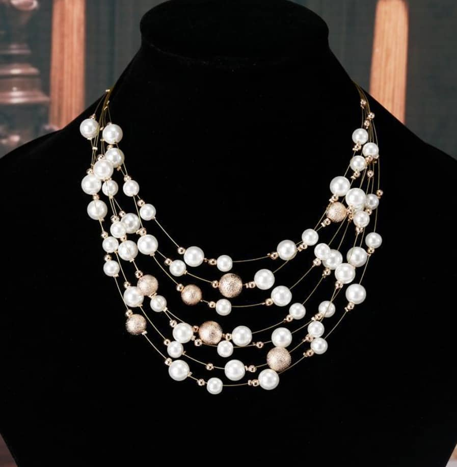 bd47a0597 Women's Multi-layer chain pearl necklace,45cm,gold plated - FromOcean.com