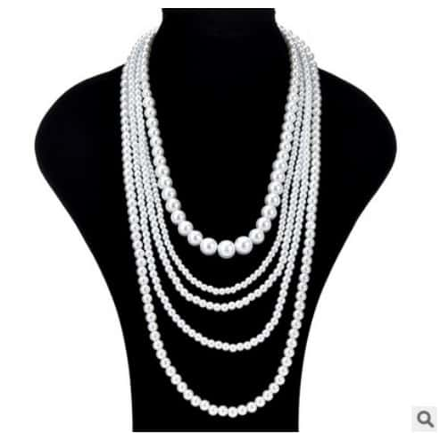 Whole Pearl Beaded Long Multilayer