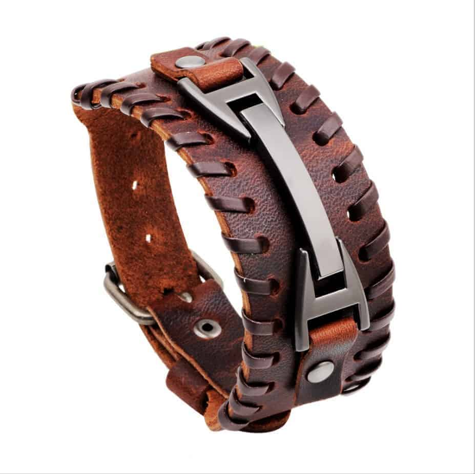Men And Women Fashion Punk Genuine Leather Bracelet Brown