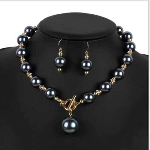 Cheap Pearl Necklace Sets: Wholesale Handmade Women Fashion Rhinestone Pearl Necklace