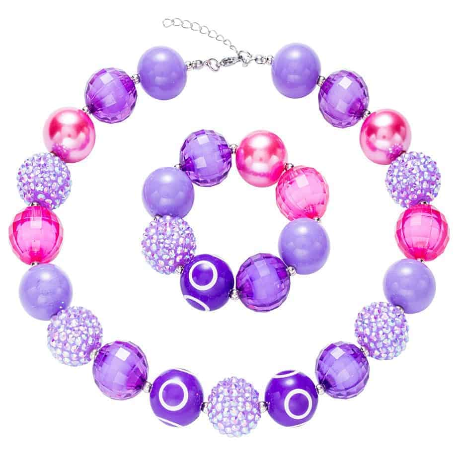 567a65676aef Chicas de chicle de acrílico collar de abalorios + pulsera conjunto púrpura  15 + 2 pulgadas-FromOcean.com