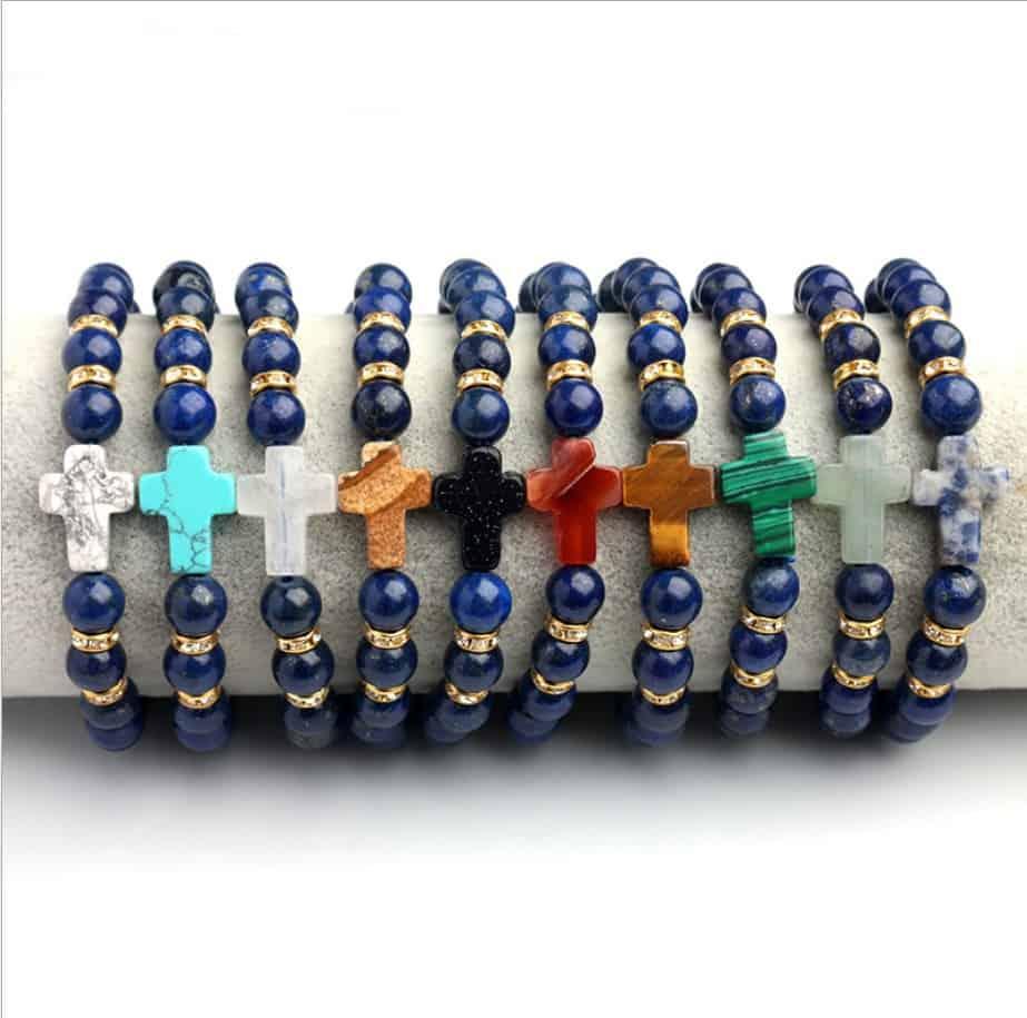 Brazalete Elástico para Hombre todos 8 mm Azul Lapislázuli cuentas de piedras preciosas
