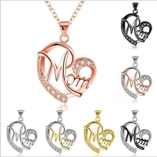 d8c35cb5d9ed Women's MOM heart shaped rhinestone letter necklace,17.5inc ,More color for  choice - FromOcean.com
