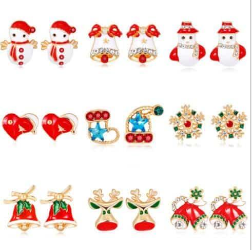 Nuevo Rojo Navidad Santa sombreros pendientes bisutería Festivo Fiesta