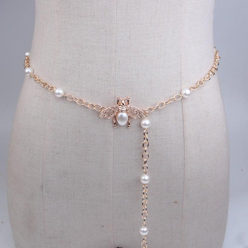 cadena de cintura fina Cinturones de cuero para vestido borla de la mujer